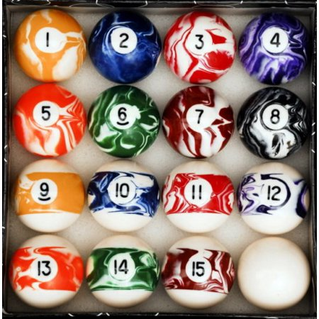 Marble - Swirl Style Pool - Billiard Ball Set - Regulation Size and Weight ()
