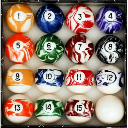 Billiard Cue Ball Glass - Marble - Swirl Style Pool - Billiard Ball Set - Regulation Size and Weight
