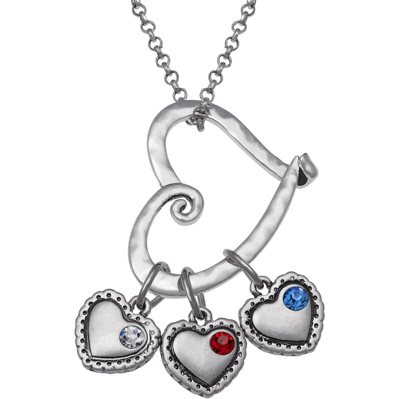 Personalized Sandra Magsamen's Mother Birthstone Heart Slider Silver-Tone Necklace