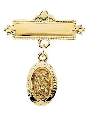 14K Yellow Gold Saint Christopher Baptism Pin Brooch by
