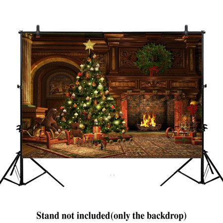 HelloDecor Polyster 7x5ft Christmas eve scene photography photo backdrop background Xmas new year vintage living room fireplace presents gifts tree holiday party night ()