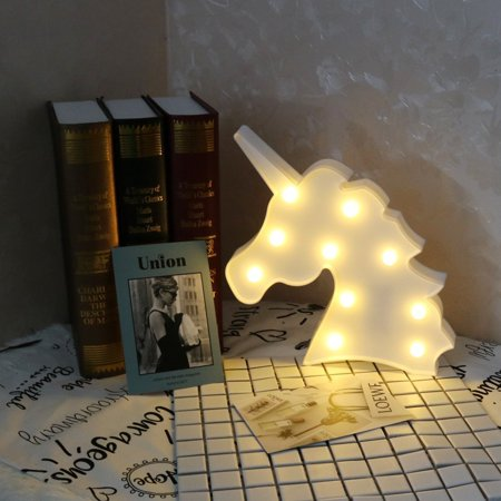 Decorative Marquee Signs Unicorn LED Lights Night Light Battery Operated Christmas Party Wall Decoration](Light Battery Operated)