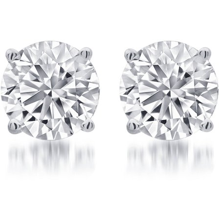 1/4 Carat T.W. Round White Diamond Sterling Silver Stud Earrings
