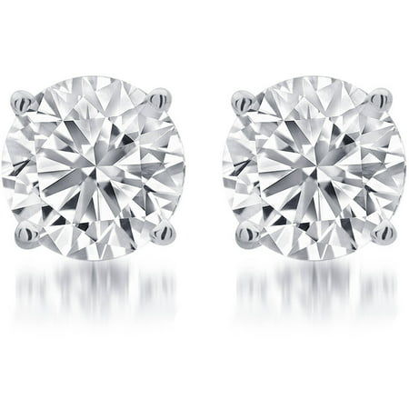 1/4 Carat T.W. Round White Diamond Sterling Silver Stud Earrings ()