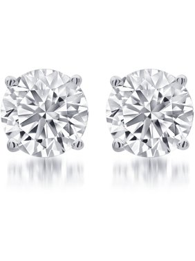 1/4 Carat T.W. Round White Diamond Sterling Silver Stud Earring.