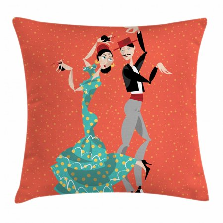 Spanish Throw Pillow Cushion Cover, Ethnic Flamenco Dancers Couple Performing in Historical Folk Dress Latino Tradition, Decorative Square Accent Pillow Case, 18 X 18 Inches, Multicolor, by Ambesonne