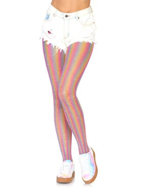 ba5e7dc03 Product Image Leg Avenue Women s Shimmer Rainbow Striped Fishnet Tights