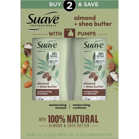 Suave Professionals Almond and Shea Butter Moisturizing Shampoo and Conditioner Paraben-free and Dye-free for Dry Hair 28 oz, 2 Count