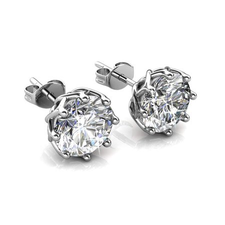 Cate & Chloe Eden Pure 18k White Gold Earrings w/Swarovski Crystals, Sparkling Silver Stud Earring Set w/Solitaire Round Diamond Crystals, Beautiful Wedding Anniversary Jewelry MSRP - $119 (18k White Gold Earing)