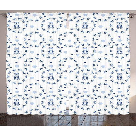 Kids Decor Curtains 2 Panels Set, Kids Baby Nursery Decor Ribbons Teddy Bears Children Hearts Art, Window Drapes for Living Room Bedroom, 108W X 84L Inches, Navy BLue Purple Grey White, by Ambesonne