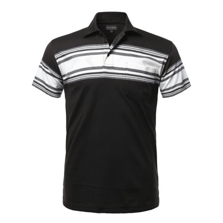 FashionOutfit Men's Casual Everyday Basic Striped Single Chest Pocket Short Sleeves Polo T-Shirt