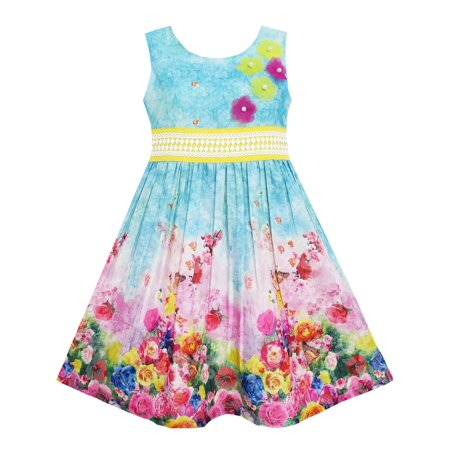 Garden Themed Dress (Girls Dress Blooming Rose Garden Flower Print Sleeveless Blue)