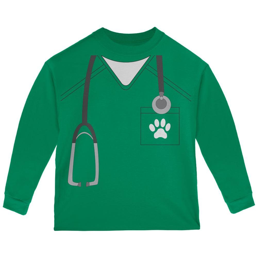 Halloween Vet Veterinarian Scrubs Costume Green Toddler Long Sleeve T-Shirt