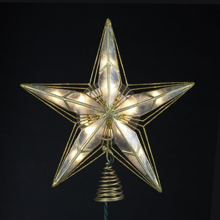 """9.5"""" Lighted Capiz and Gold Painted Star Christmas Tree Topper - Clear Lights"""