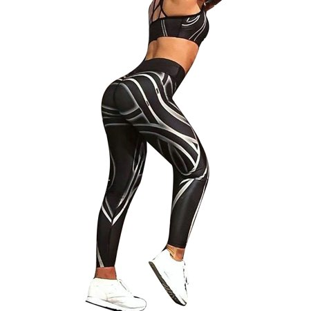 308d72c01ecae Sexy Dance - Womens Yoga Pants Stripe Print Fitness Leggings Running  Jogging Gym Exercise Sports Training Trousers - Walmart.com