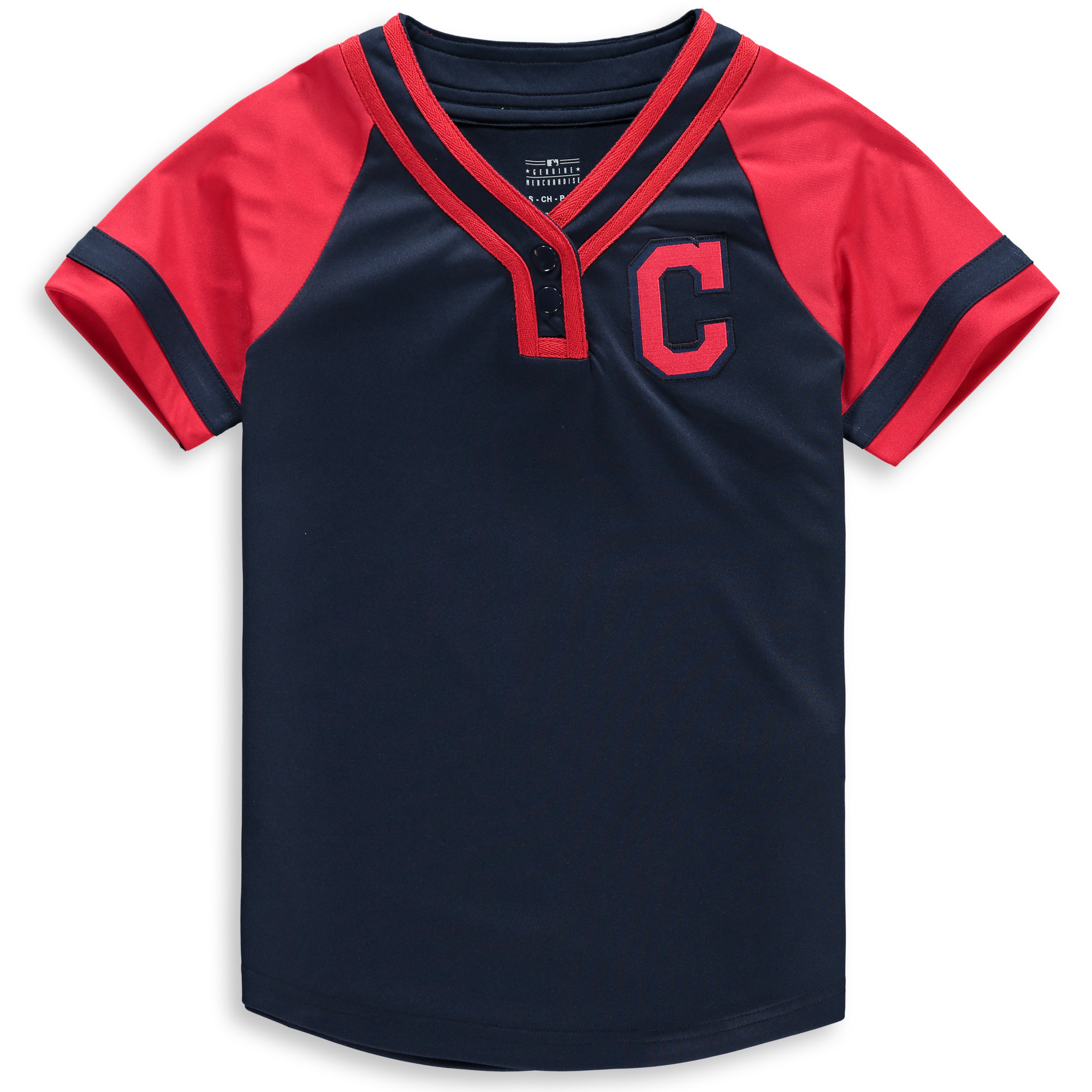 Cleveland Indians Youth Dedicated Raglan T-Shirt - Navy/Red