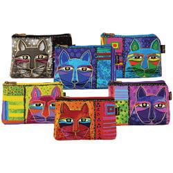 """Laurel Burch Cosmetic Bag Zipper Top Assortment 9.25""""X6.75""""-Whiskered Cats"""