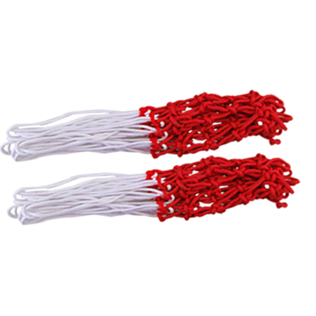 "Unique Bargains 2 Pcs 16.5"" Long All-Weather Great Replacement Nylon Basketball Nets White Red"