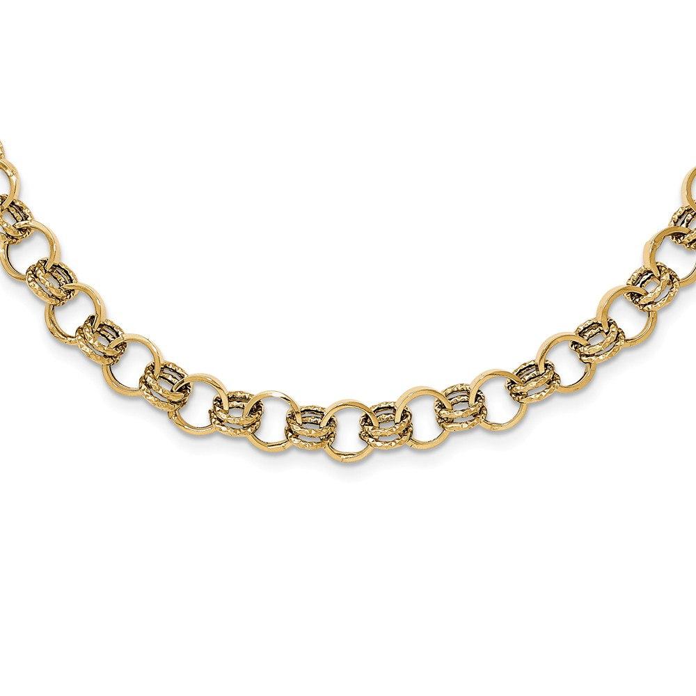 "14K Yellow Gold Polished Diamond-Cut Fancy Necklace -18"" (18in x 7mm) by"