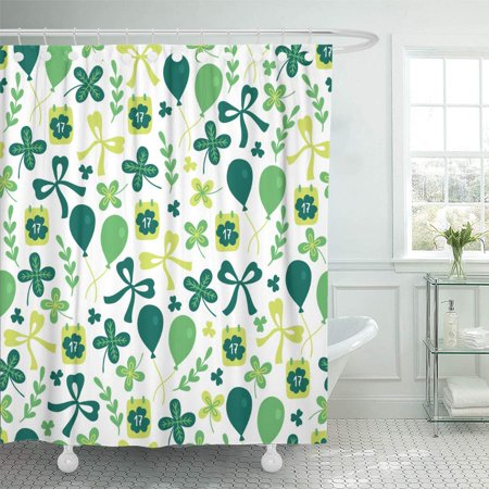 PKNMT St Patrick's Day with Calendar Balloons Branch Bow Quatrefoil and Shamrock Bathroom Shower Curtains 60x72 inch - Patrick Balloon