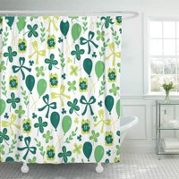 PKNMT St Patrick's Day with Calendar Balloons Branch Bow Quatrefoil and Shamrock Bathroom Shower Curtains 60x72 inch