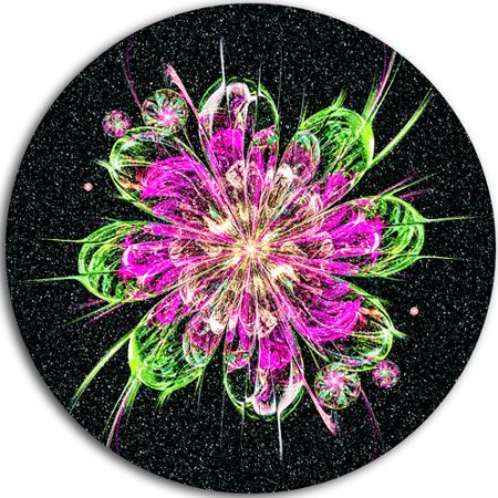 Act Green - Design Art 'Perfect Fractal Flower in Purple and Green' Graphic Art Print on Metal