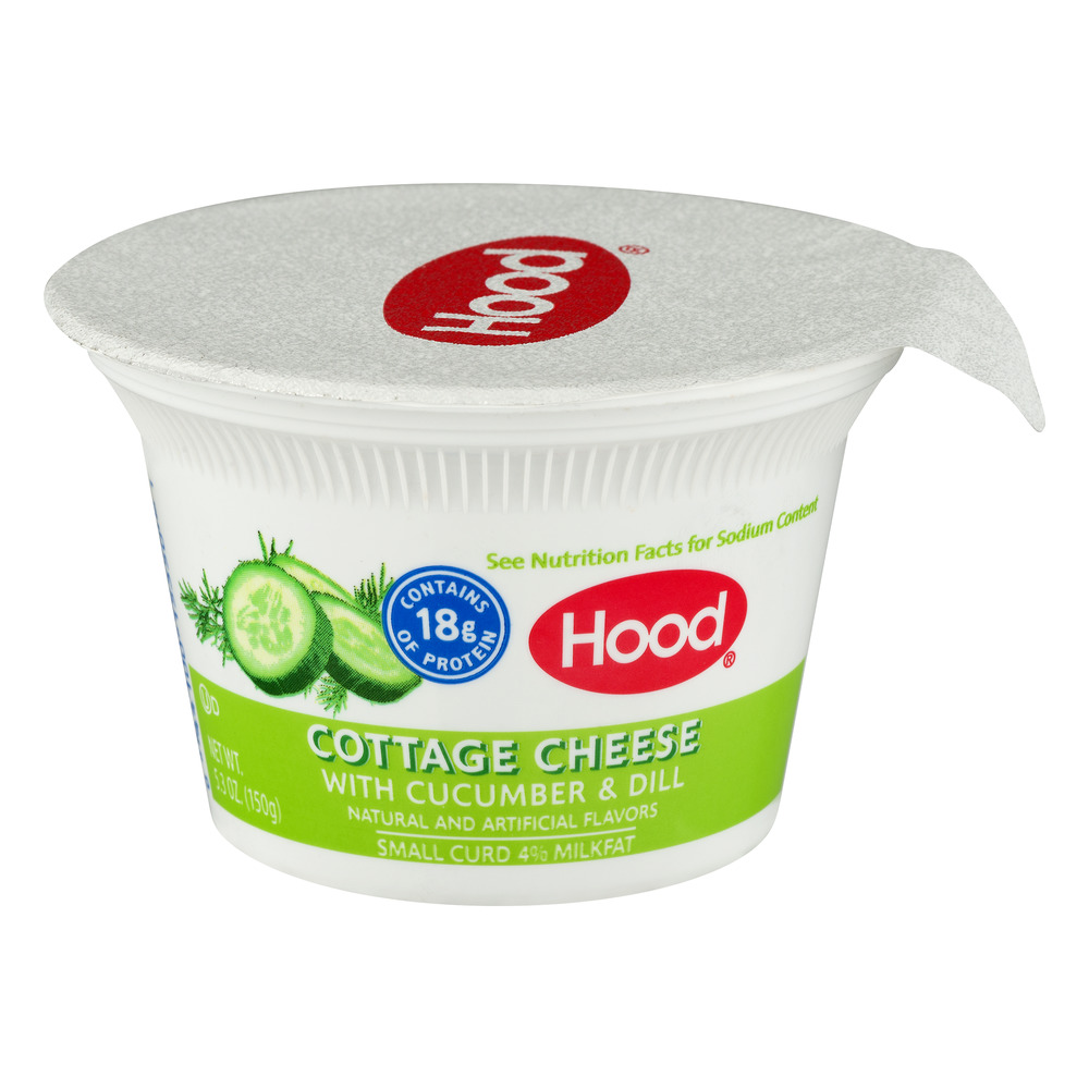Hood Cottage Cheese With Cucumber U0026 Dill, Small Curd, 4% Milkfat, 5.3