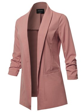 03392547f15ce Product Image FashionOutfit Women s Solid 3 4 Shirring Sleeves Open Front  Blazer Jacket
