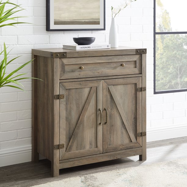 Woven Paths Farmhouse Barn Door Accent Cabinet, Grey Wash