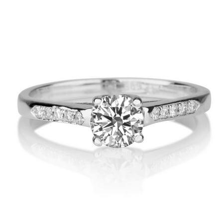 Beautiful 0.35ctw Lab Created White Sapphire and Diamonds Ring White Gold 14K