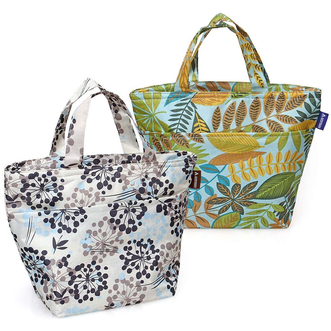 Avery Barn 2pc Various Design Insulated Cooler Picnic Tote Style Lunch Bag Set