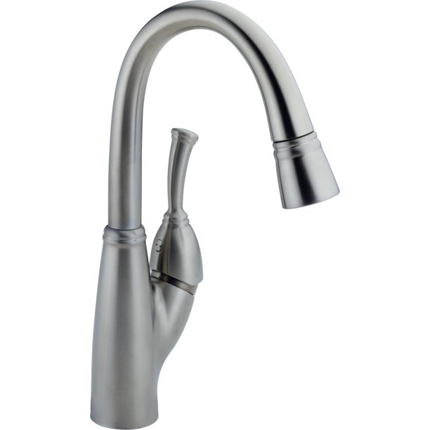 Delta Allora Single Handle Pull-Down Bar / Prep Faucet, Arctic Stainless