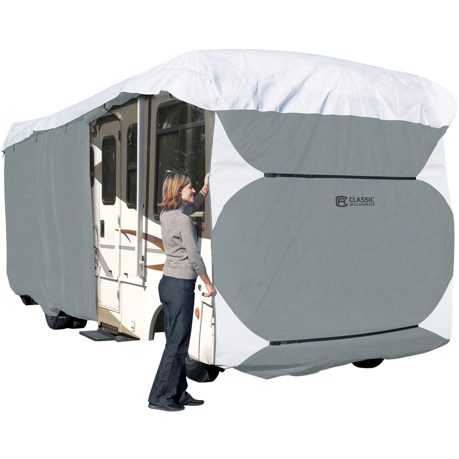 Classic Accessories PolyPRO 3 Deluxe Class A RV Storage Cover, Gray