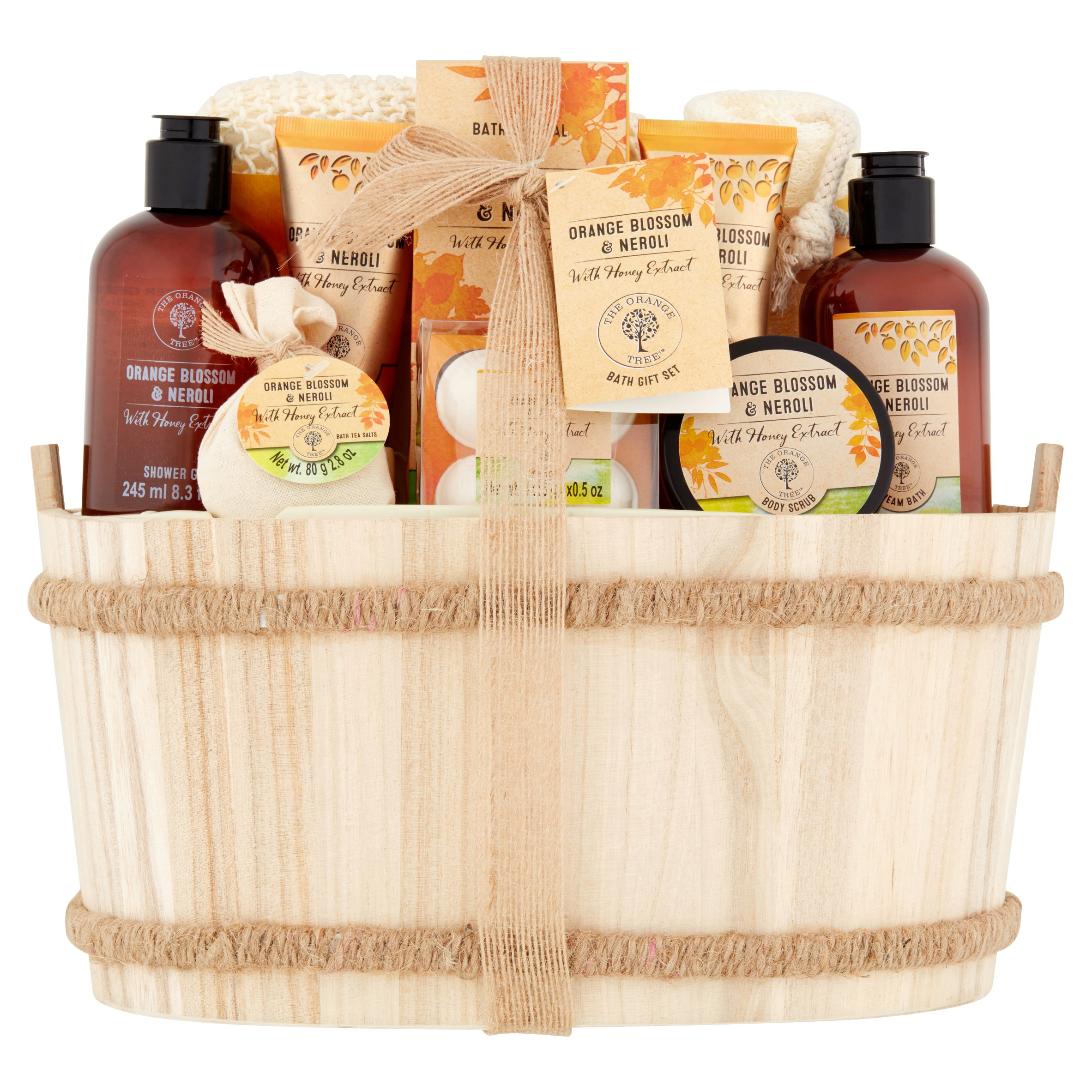 The Orange Tree Orange Blossom & Neroli Bath Gift Set in a Wooden Crate, 11pcs