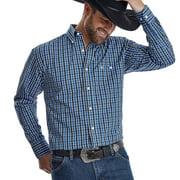Wrangler Apparel Mens  Royal Black Plaid Classic Long Sleeve Button Up Shirt XL Royal/Black