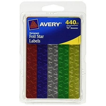 Vintage Foil Label (Avery Assorted Foil Star Labels 6007, 1/2 Diameter )