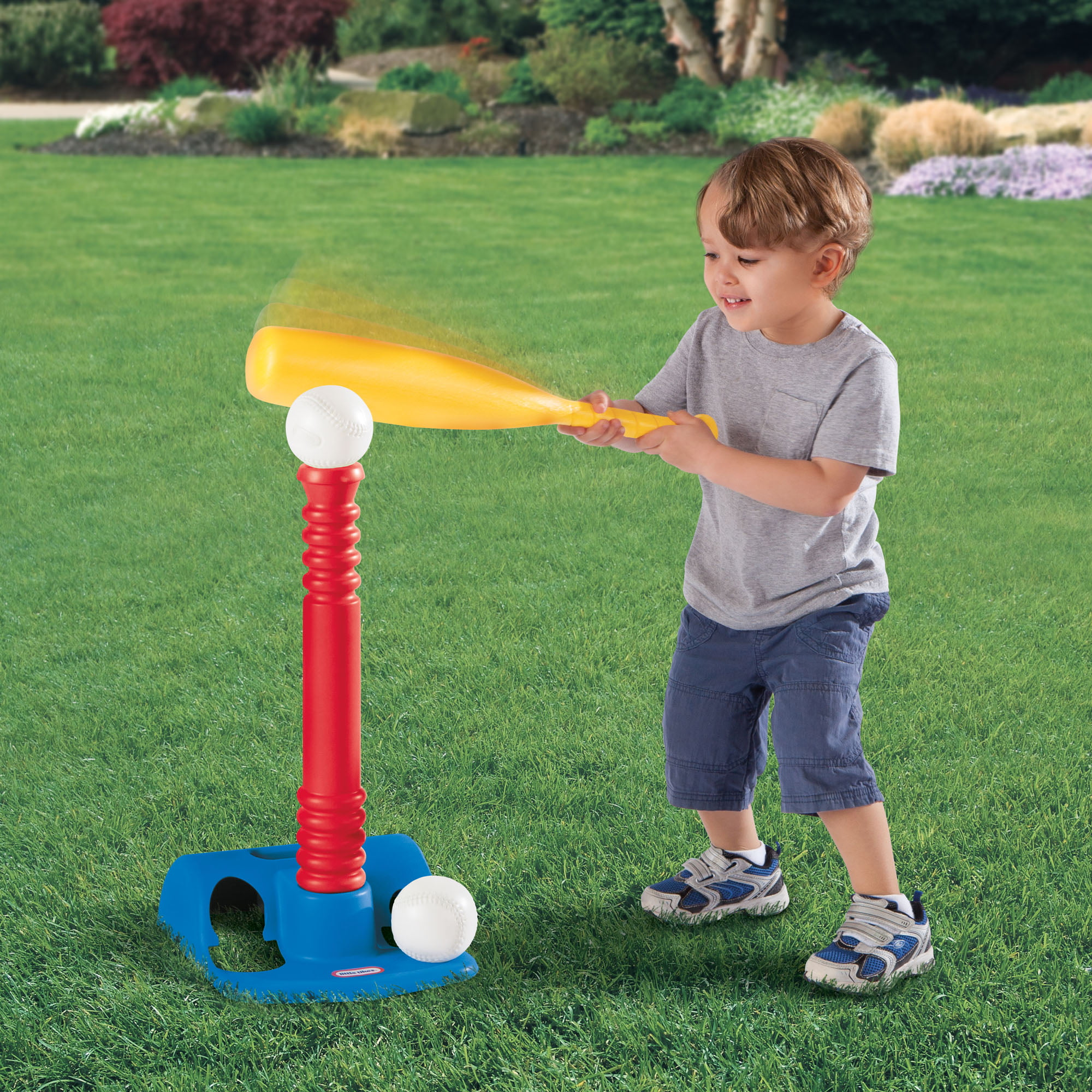 Toddlers and Kids Adjustable Batting Tee Game W// 8 Balls Develops and Improves Baseball Softball Sports Toy for Boys and Girls T-Ball Set // Tee Ball Ball Skills Children Ages 1-12