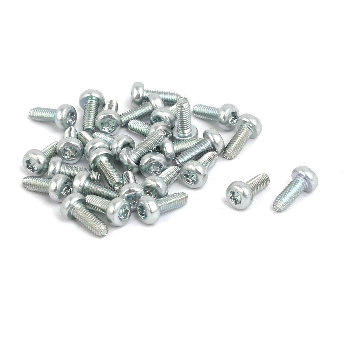 M3x8mm Pan Head Torx Socket Triangle Thread Screw Bolt Silver Tone 30pcs - image 2 of 2