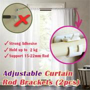 Jeobest Adhesive Curtain Rod Holder - Curtain Rod Clamp Bracket - 2PCS Self Adhesive Wall Curtain Hanging Rod Bracket Pole Curtain Pole Wall Bracket & Fixing Rod Holder for Home Bathroom MZ