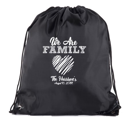 Custom Favor Bags (We are family messy heart with custom name -Family Reunion Party Favor)