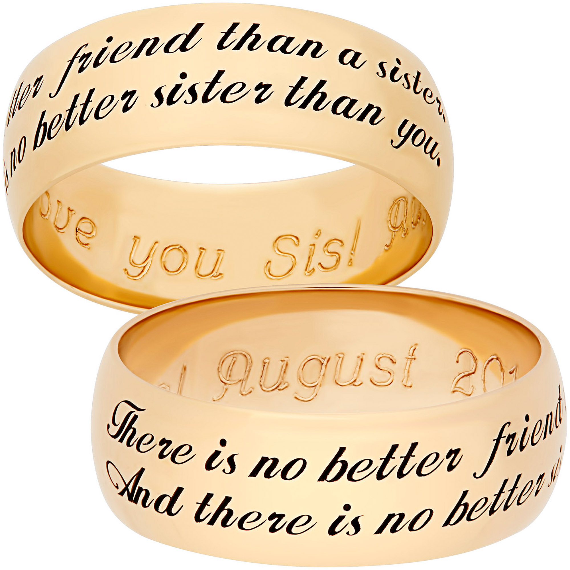 "Personalized Gold over Sterling Silver Sweet Sentiments ""Sister"" 7mm Band"
