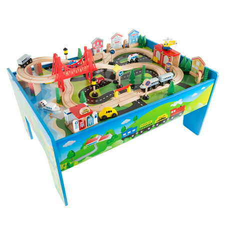 Wooden Train Set Table for Kids, Deluxe Had Painted Wooden Set with Tracks, Trains, Cars, Boats, and Accessories for Boys and Girls by Hey! - Kids Wooden Boat