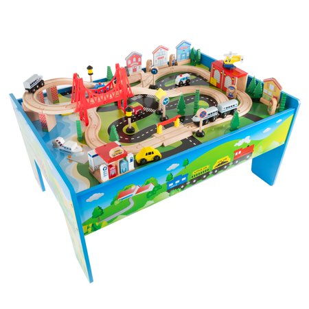 Wooden Train Set Table For Kids Deluxe Had Painted Wooden Set With Tracks Trains Cars Boats And Accessories For Boys And Girls By Hey Play