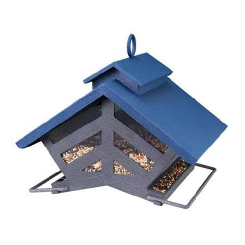 Cherry Valley Feeders Heritage Farms Chalet Bird Feeder Blue