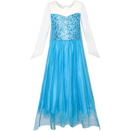 Sunny Fashion Girls Dress Cartoon Costume Princess Elsa Sparkling Party Size 3-12