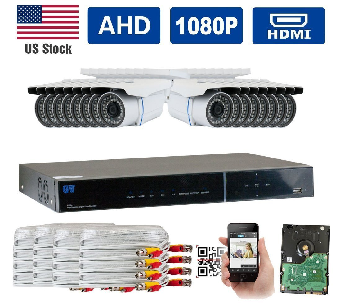 GW Security AHD 16CH 1080P DVR Video Surveillance Camera System 16 1080P 2.1 Megapixel... by GW Security