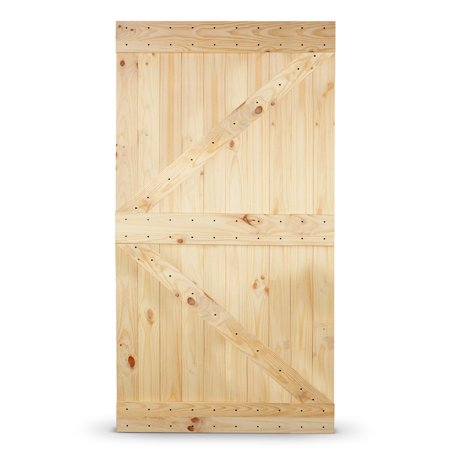 "BELLEZE Natural Sliding Arrow Barn Door Kit, Wood Pine Unfinished DIY Barn Door 42"" x 84"" inches"