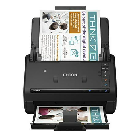 Epson WorkForce ES-500W Wireless Color Duplex Document Scanner for PC and Mac, Auto Document Feeder (Best Document Scanner For Mac 2019)