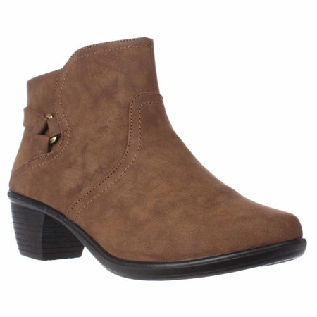 Womens Easy Street Dawnta Side Zip Ankle Boots, Brown Matte