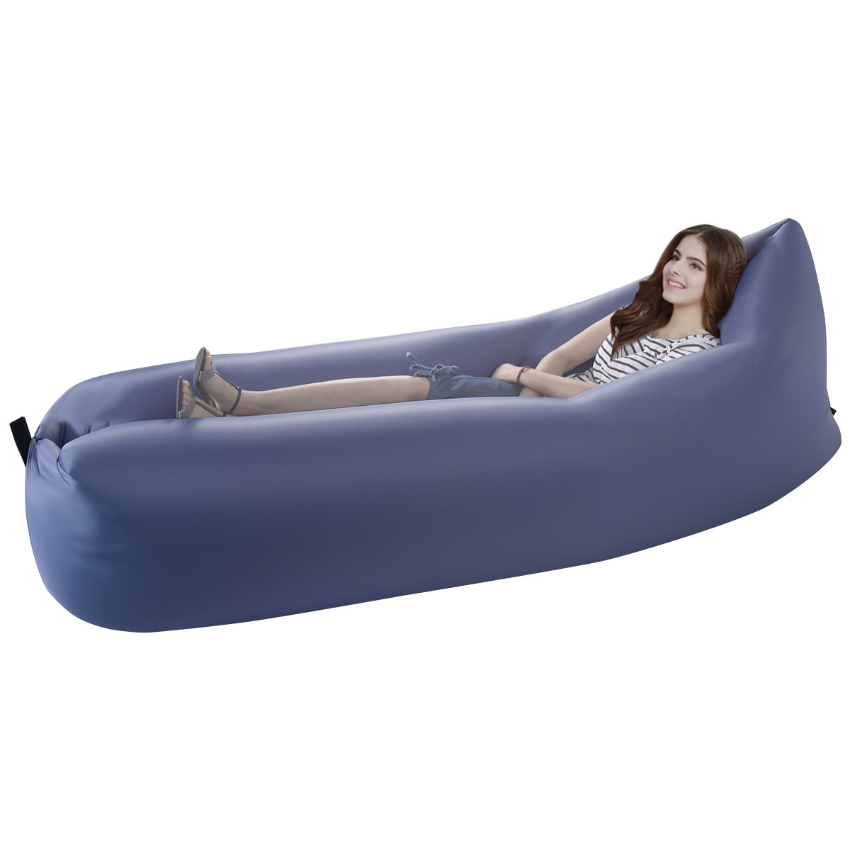 Awesome Outdoor Lazy Inflatable Couch Air Sleeping Sofa Lounger Bag Camping Bed  Portable Blue   Walmart.com
